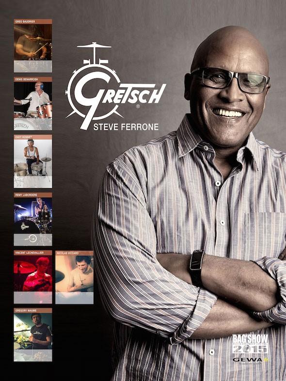 Steve-Ferrone-Gretsch-BagShow2015-Poster-GEWAmusic